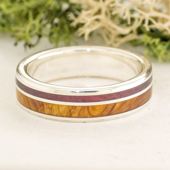 Silver wood rings Juniper and Purple heart silver ring 175,00 € Viademonte Jewelry