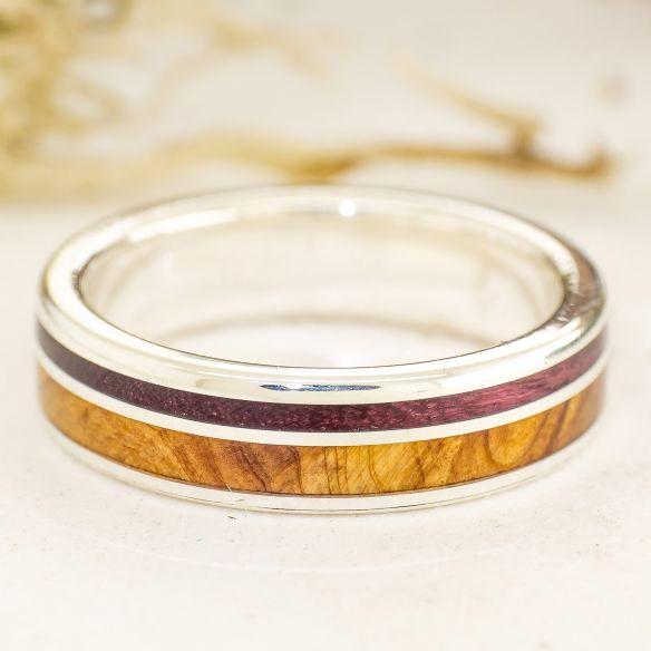 Anillos con madera y plata Alianza de enebro, amaranto y plata 160,00€ Viademonte Jewelry