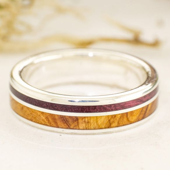 Anells amb fusta i plata Aliança de ginebre, amarant i plata 170,00 € Viademonte Jewelry