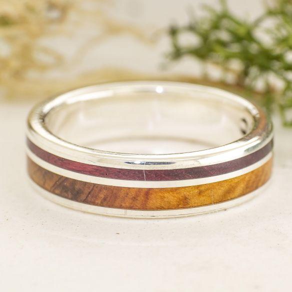 Anillos con madera y plata Alianza de enebro, amaranto y plata 175,00€ Viademonte Jewelry