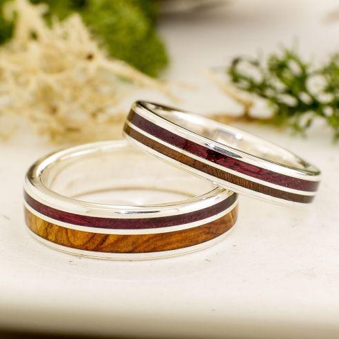 Couples de bagues Alliances originales en argent avec bois de genévrier, noyer et amarante Viademonte Jewelry € Viademonte Jewel