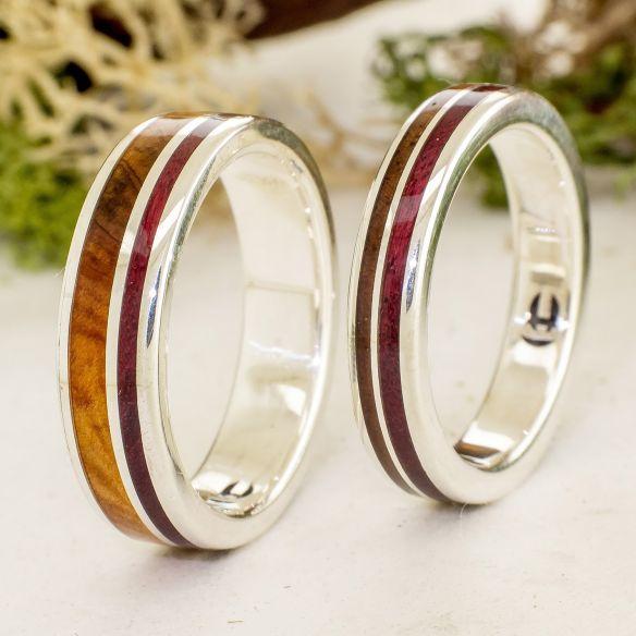 Anillos de boda Parejas de anillos Set plata enebro, nogal & amaranto Viademonte Jewelry 340,00€