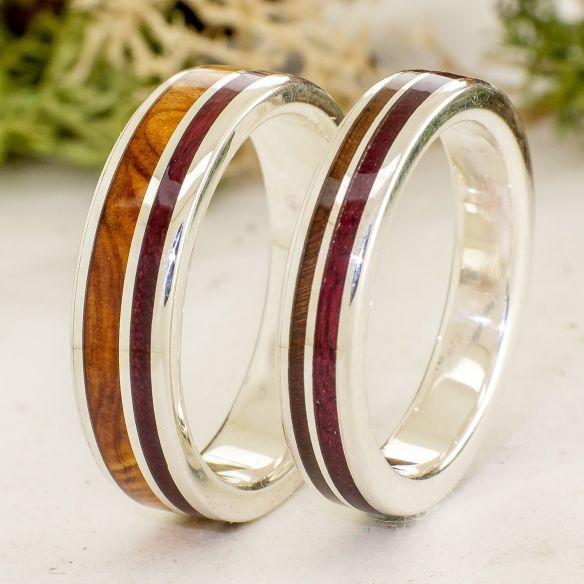 Parelles d'anells Aliances de plata originals amb fusta de ginebre, noguera i amarant 240,00 € Viademonte Jewelry