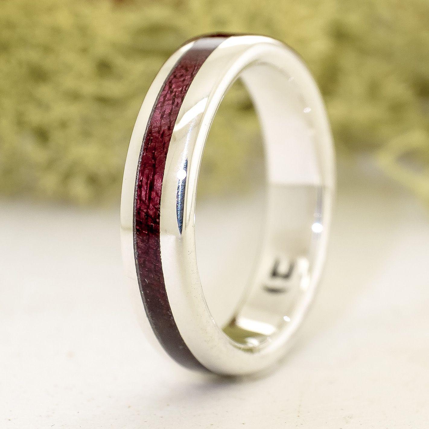 Anell de plata compromís amb fusta de amarant