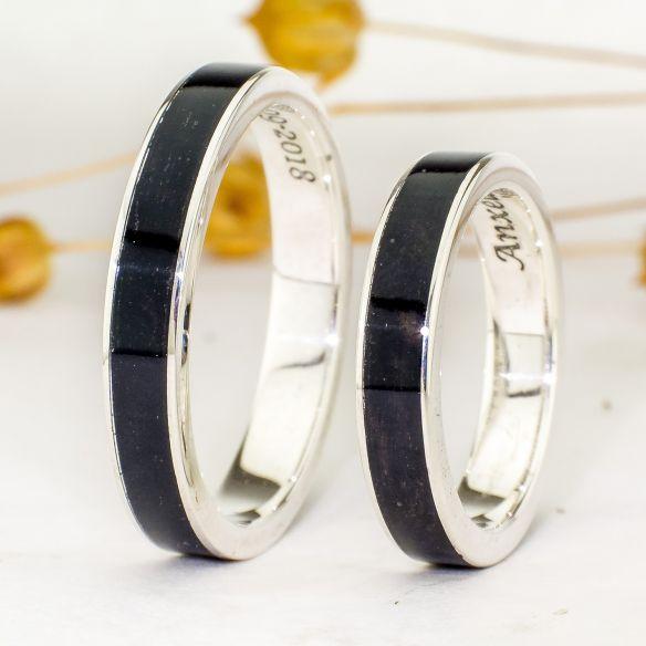 Parejas de anillos Anillo plata de ley y madera de ébano 260,00€ Viademonte Jewelry
