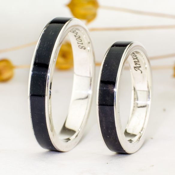 Ring sets Set sterling silver ring and ebony wood 275,00 € Viademonte Jewelry