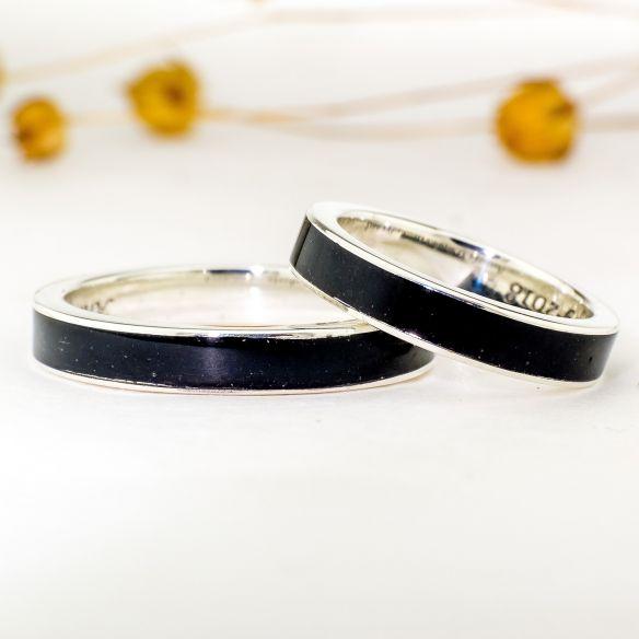 Coppie di anelli Viademonte Jewelry argento 925 e legno di ebano € Viademonte Jewelry