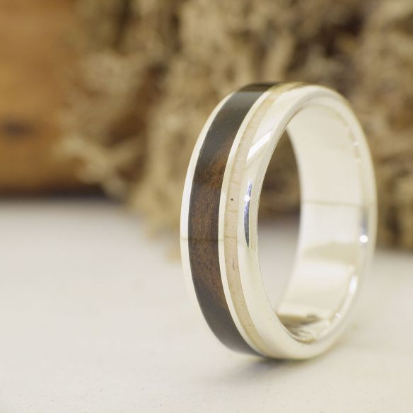 Antler and horn rings Silver ring with moose horn and white ebony wood 185,00 € Viademonte Jewelry