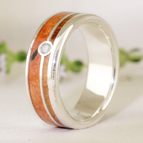 Gemstone Wooden rings Silver ring diamond, juniper and briar root wood 180,00 € Viademonte Jewelry