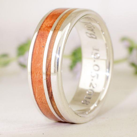 Gemstone Wooden rings Silver ring diamond, juniper and briar root wood 220,00€ Viademonte Jewelry