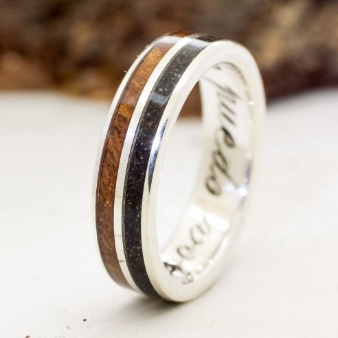 Sand rings Ring of silver, walnut and Mediterranean land 170,00€ Viademonte Jewelry