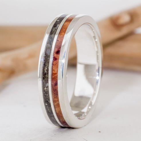 Bagues avec Sable Bague en argent avec bois et frêne Viademonte Jewelry € Viademonte Jewelry