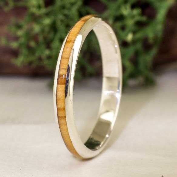 Stackable rings Silver ring and olive wood - Half round 130,00€ Viademonte Jewelry