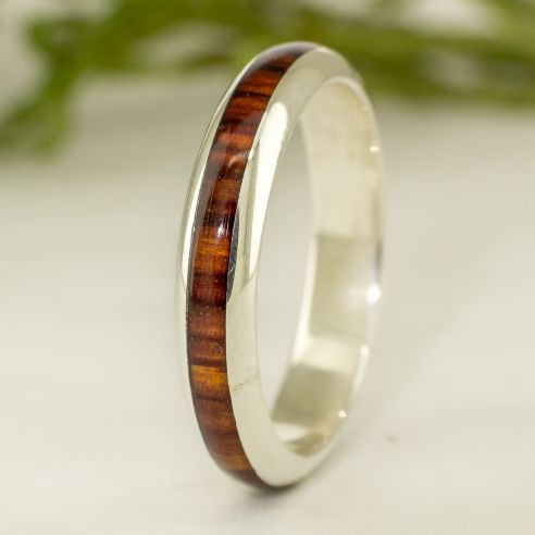 Stackable rings Silver and cocobolo wood ring - Half round 130,00€ Viademonte Jewelry