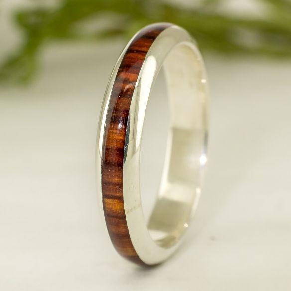 Anneaux Minimal Alliance Argent et bois de cocobolo - Demi-rond 130,00 € Viademonte Jewelry