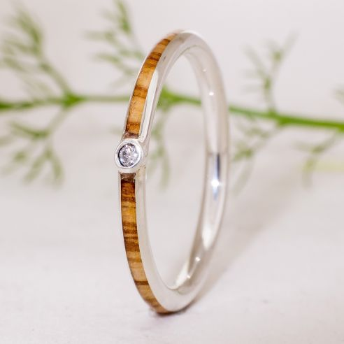 Gemstone Wooden rings Silver ring, diamond and olive wood 180,00 € Viademonte Jewelry