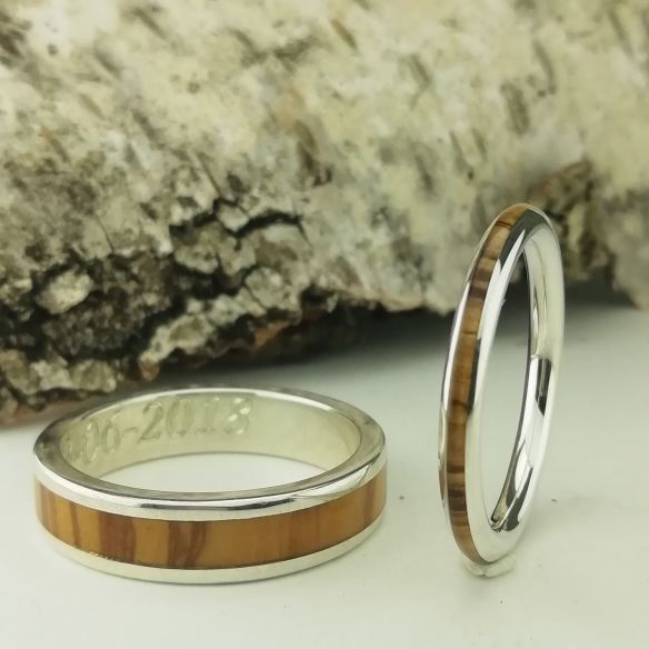 Ring sets Set of silver rings and olive wood 270,00 € Viademonte Jewelry