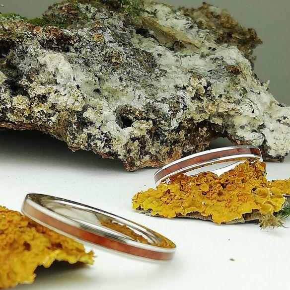 Coppie di anelli Alleanze originali in argento con legno di erica. Fedi nuziali a Barcellona. € 240,00 Viademonte Jewelry