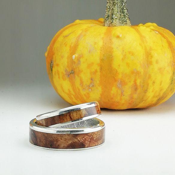 Couples de bagues Viademonte Jewelry personnalisées en argent et bois de bouleau Viademonte Jewelry € Viademonte Jewelry