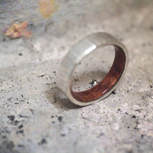 Wood wedding bands Silver wood bands Briar root wood sterling silver ring 165,00 € Viademonte Jewelry