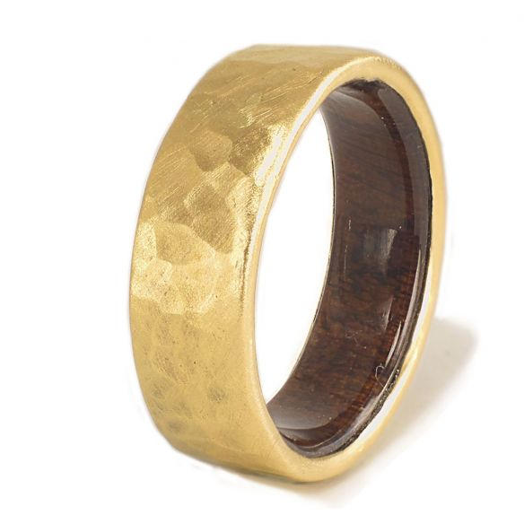 Gold wood bands Yellow gold ring and walnut wood inside 680,00 € Viademonte Jewelry
