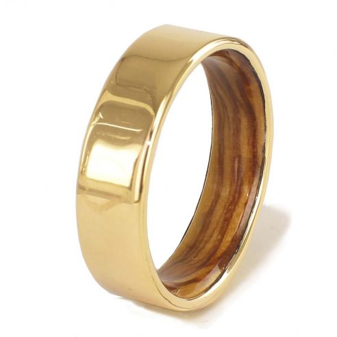 Gold wood bands Yellow gold ring and olive wood inside 560,00 € Viademonte Jewelry