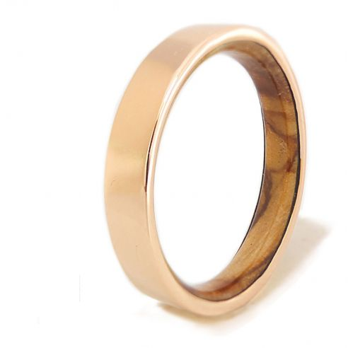 Gold wood bands Rose gold ring and olive wood 490,00€ Viademonte Jewelry