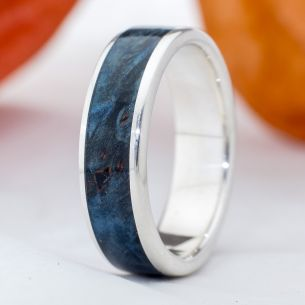 Silver wood rings Wooden silver band - Birch blue wood 150,00€ Viademonte Jewelry