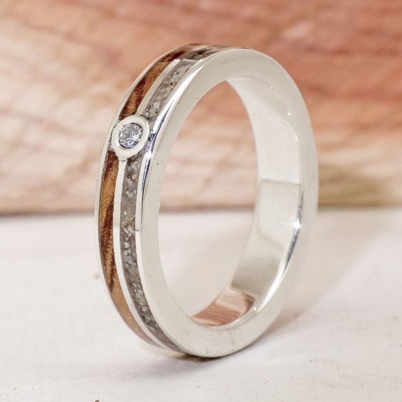 Gemstone Wooden rings Silver ring with diamond, sand and olive 210,00 € Viademonte Jewelry