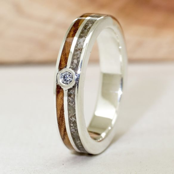 Gemstone Wooden rings Silver ring with diamond, sand and olive 165,00 € Viademonte Jewelry