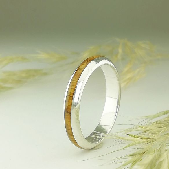 Stackable rings Silver ring halfround made with lignum vitae wood 130,00 € Viademonte Jewelry