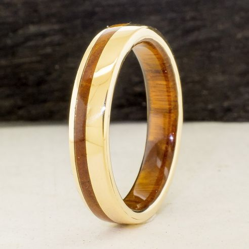 Gold wood rings Yellow gold 18k inlay wedding ring with lignum vitae wood 580,00€ Viademonte Jewelry