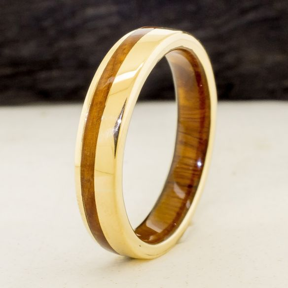 Gold wood rings Yellow gold 18k inlay wedding ring with lignum vitae wood 790,00€ Viademonte Jewelry
