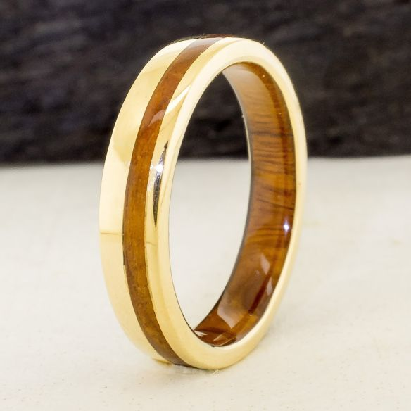 Gold wood rings Yellow gold 18k inlay wedding ring with lignum vitae wood 790,00 € Viademonte Jewelry