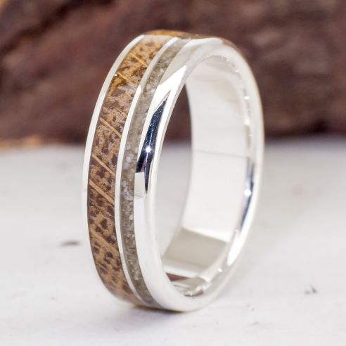 Sand rings Silver ring with sand and Oak wood 170,00€ Viademonte Jewelry