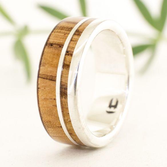 Silver wood rings Silver ring & zebra wood 160,00€ Viademonte Jewelry