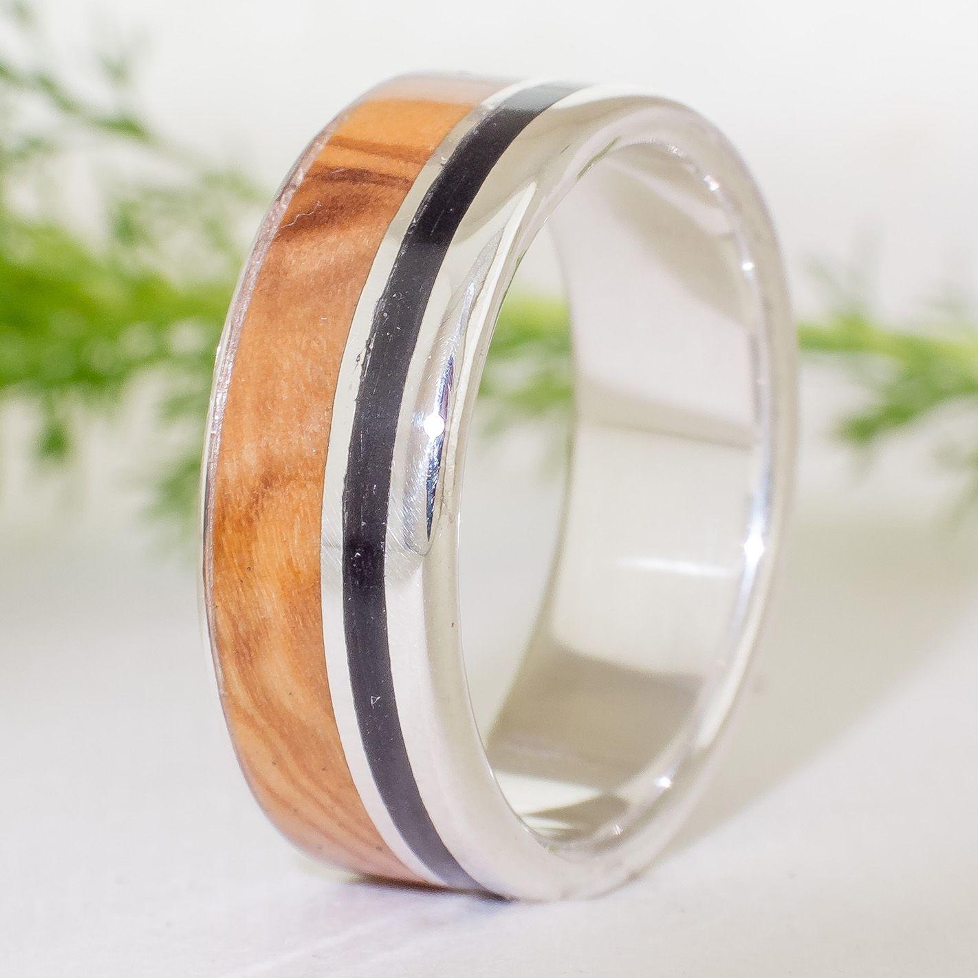 Anillo de plata y madera Anillo ebano anillo olivo