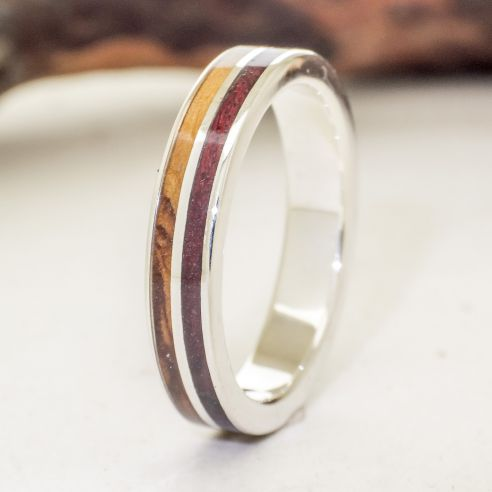 Silver wood rings Silver ring made with purple heart and olive wood 140,00€ Viademonte Jewelry