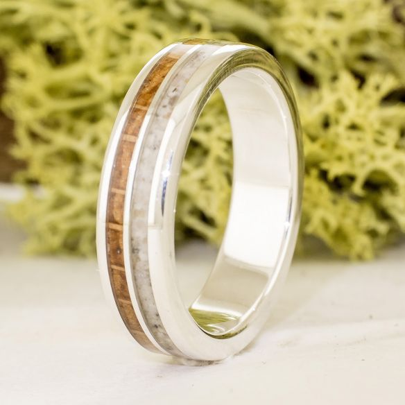 Sand rings Sand and white oak sterling silver ring 170,00€ Viademonte Jewelry