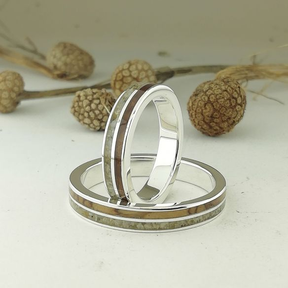 Ring sets Set silver ring sand and cherry-olive wood 320,00 € Viademonte Jewelry