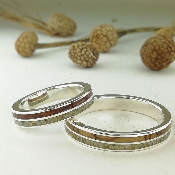 Sand rings Wedding rings sand and cherry-olive wood 320,00 € Viademonte Jewelry