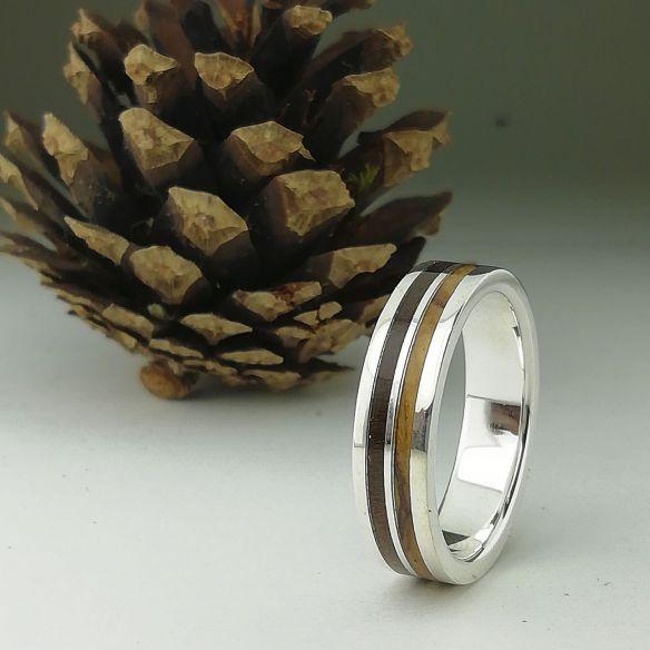 Anillos con madera y plata Alianza de plata - Madera de olivo y nogal 160,00€ Viademonte Jewelry