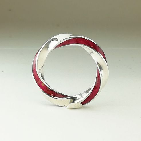 Stackable rings Silver infinity ring and birch pink wood 200,00€ Viademonte Jewelry