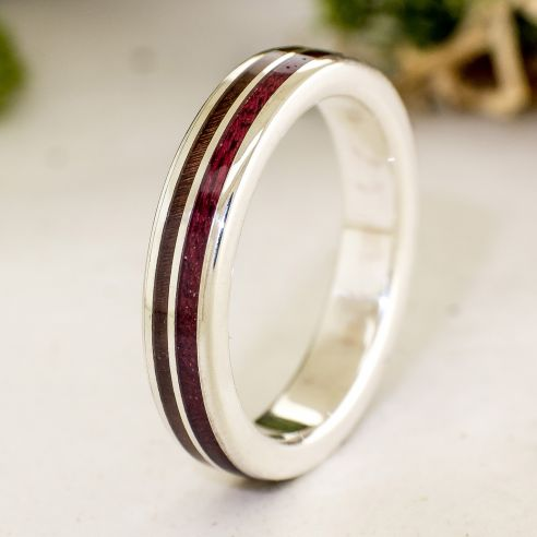 Silver wood rings Silver ring made with purple heart and walnut wood 160,00€ Viademonte Jewelry