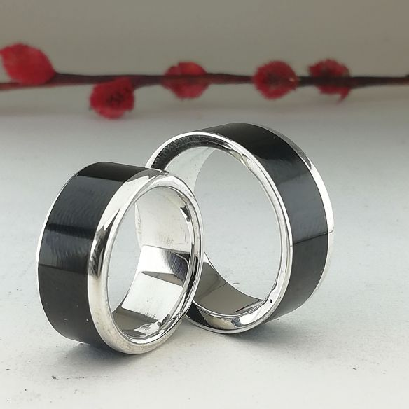Ring sets Set of silver rings and ebony wood 300,00€ Viademonte Jewelry