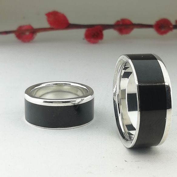 Anillos de boda Parejas de anillos Set anillos de plata y madera de ébano Viademonte Jewelry 315,00€