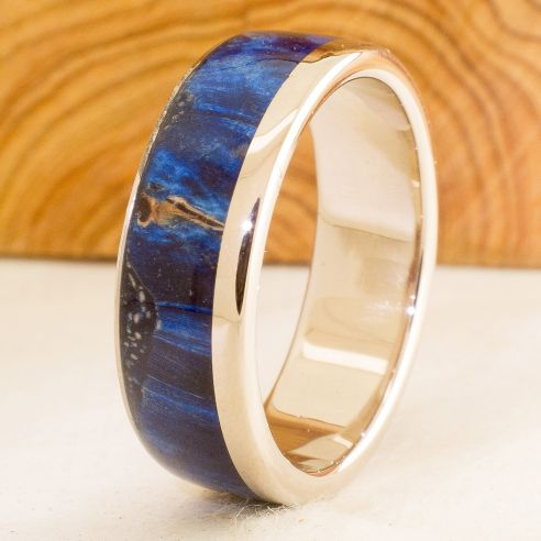 Gold wood rings White gold wedding band & birch blue wood 850,00€ Viademonte Jewelry