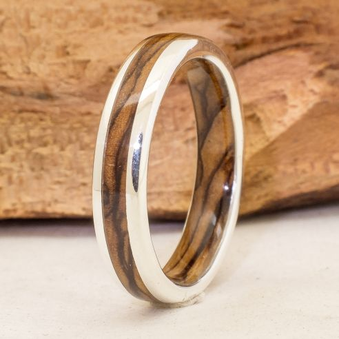 Silver wood bands Silver ring and olive wood inside and ouside 220,00€ Viademonte Jewelry