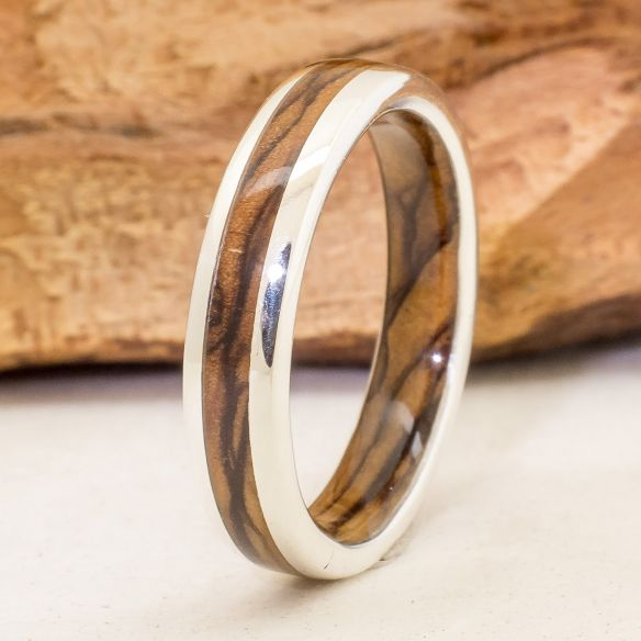 Silver wood bands Silver ring and olive wood inside and ouside 220,00 € Viademonte Jewelry