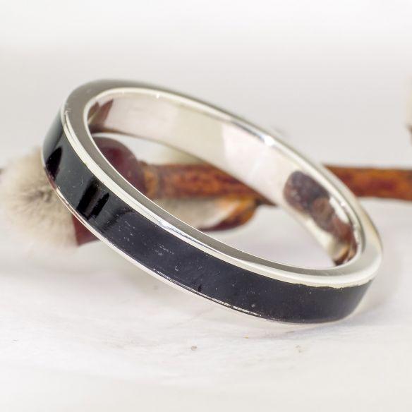Bagues avec bois et argent Alliance en argent et bois d'ébène 104,00 € Viademonte Jewelry